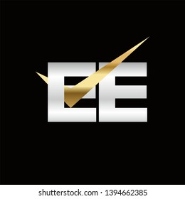EE Logo of the Letter Tick Gold Initial Capital Designs Template Illustration Vector EPS 10