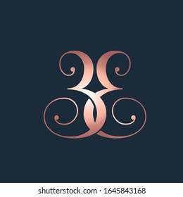 EE monogram logo.Elegant style typographic icon.Rose gold color lettering sign.Alphabet initials isolated on dark background.Luxury wedding letter e.Beauty characters with decorative swirls.