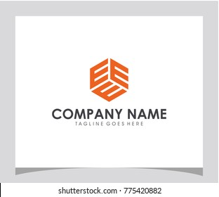 EEE initial. hexagon. box letter logo design eps 10