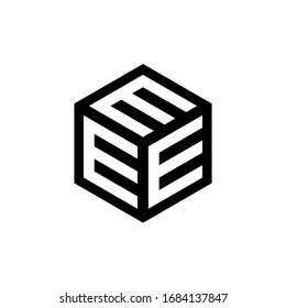 EEE letter with hexagon logo design vector