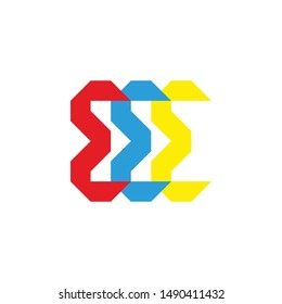 EEE letter logo modern style full color