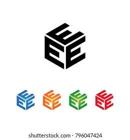 EEE letters Logo Initial Template.Modern Style. Hexagon concept.Black,Blue,Orange,Green,Red color on white background