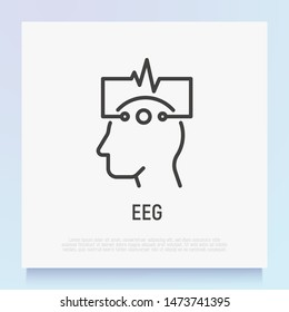 EEG: human head with electrodes thin line icon. Medical research. Diagnostic of brain activity. Modern vector illustration.