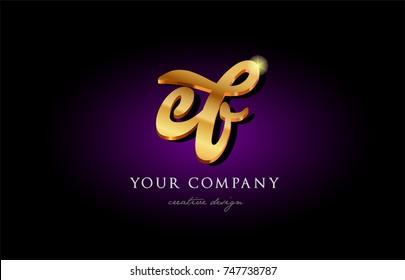 ef  e f  alphabet combination letter logo in gold golden 3d metal beautiful typography suitable for banner brochure design
