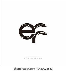 ef e f Initial Letter Split Lowercase Modern Monogram linked outline rounded logo