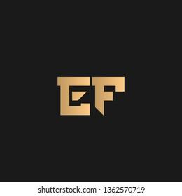 EF or FE logo vector. Initial letter logo, golden text on black background