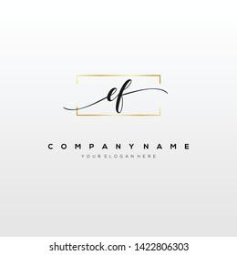 EF handwriting initial logo template vector.