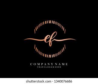 EF handwriting initial  logo vector