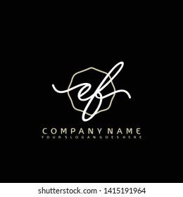 EF Initial handwriting logo concept