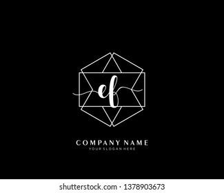 EF initial handwriting logo geometric template vector