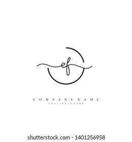 EF initial handwriting logo template vector