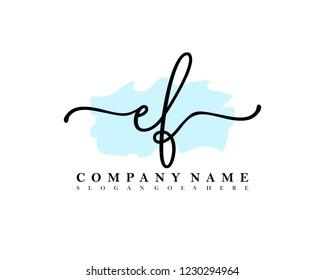 EF Initial handwriting logo vector