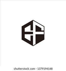 EF Logo Initial Monogram Negative Space Designs Templete with Black color and White Background