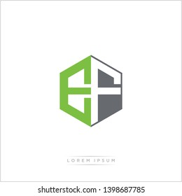 EF Logo Initial Monogram Negative Space Design Template With Green and Grey Color - Vector EPS 10