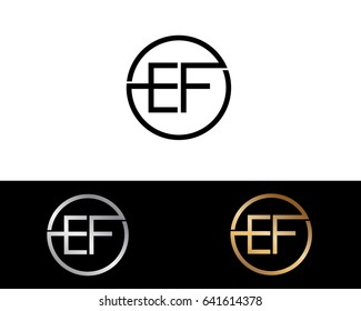 EF Logo. Letter Design Vector with Red and Black Silver, Gold  Colors