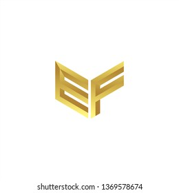 EF Logo letter initial 3d designs templete with gold colors