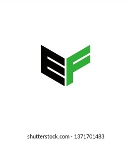 EF Logo Letter Initial With Black and Green Colors