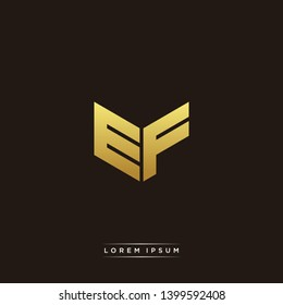 EF Logo Letter Initial Logo Designs Templete with Gold and Black Background