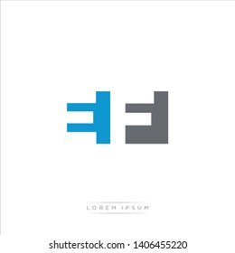EF Logo Letter with Modern Negative space - Blue and Grey Color EPS 10