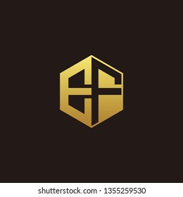 EF Logo M onogram with Negative space gold colors