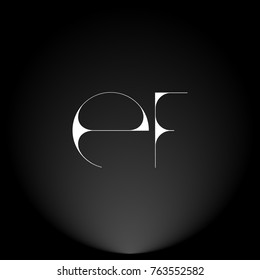 EF White thin minimalist LOGO Design with Highlight on Black Background.