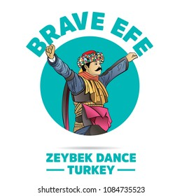 Efe turkish brave person performing Zeybek dance of Turkey