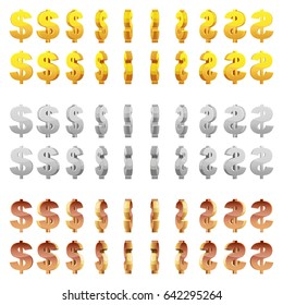 Effect 3D animation of a spinning golden, silver and bronze dollar sign. Vector animation game rotation.
