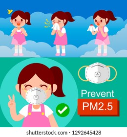 Effect of air pollution, The girl Nosebleed and design to wear protective mask. N95 prevent from PM2.5 vector illustration isolated on EPS10.