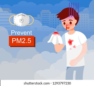 Effect of air pollution, human Nosebleed. N95 prevent from PM2.5 vector illustration isolated on EPS10.