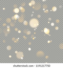 Effect of bokeh circles isolated on transparent background. Christmas glowing warm orange glitter element that can be used. EPS 10