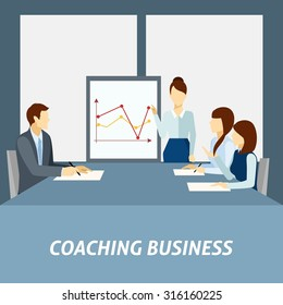 Effective business coaching strategies to apply in workplace for success presentation poster flat abstract vector illustration