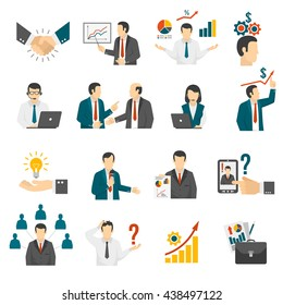 Effective business management training program and leadership development consulting service flat icons set abstract isolated vector illustration