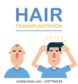Effective hair transplantation procedure before and after shots of white man who is happy with his new hair. Cartoon vector illustration.