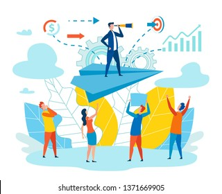 Effective Leader Team Metaphor Vector Illustration. Men and Women Look Head Standing on Paper Airplane. Person Considers Important Degree Satisfaction with his Professional Choice and Work.