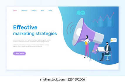 Effective marketing strategies, Internet promotion vector. Man work on laptop and woman near loudspeaker, graphic of growth and chat clouds. Website or webpage template, landing page in flat style