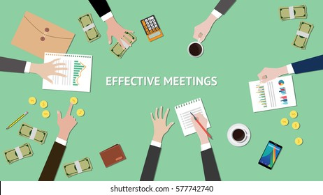 effective meetings illustration with paperworks, money and folder document on top of table