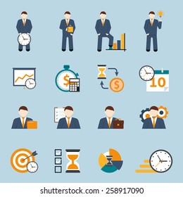Effective office hours  time management and realistic goal planning strategy flat icons collection abstract isolated vector illustration