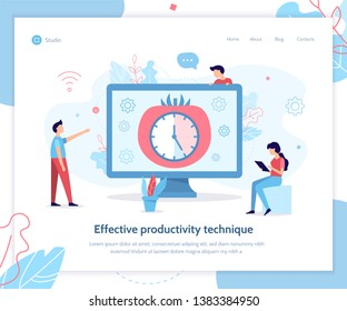 Effective productivity Pomodoro technique. Landing design template. Flat vector illustration.