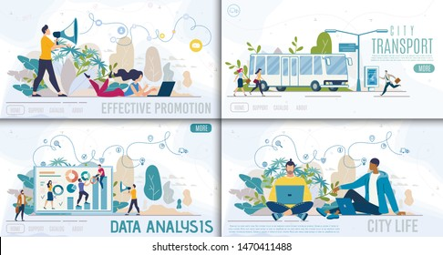 Effective Promotion, City Transport, Data Analysis and City Life Flat Vector Web Banners, Landing Pages Templates Set with Business Analytics Team, Working Marketing Managers, Bus Stop Illustration