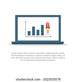 Effective promotion. Turbo SEO boost. Flat vector illustration. With a diagram and a rocket on the laptop