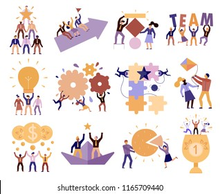 Effective teamwork in workplace 12 cartoon compositions of successful team members cooperation trust goals commitment vector illustration