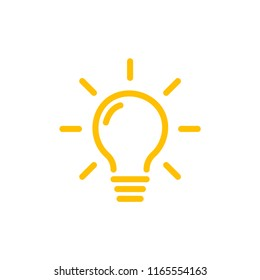 Effective thinking concept solution bulb icon with innovation idea. Solution isolated symbol.