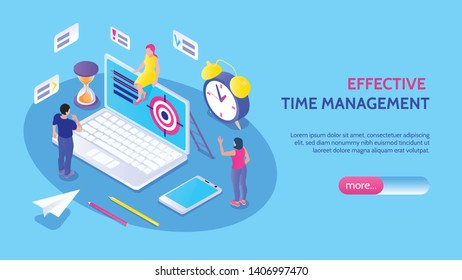 Effective time management horizontal banner with male and female characters alarm clock hourglass target isolated icons vector illustration