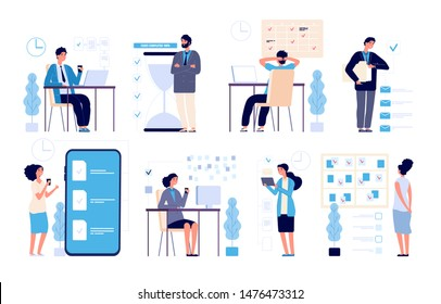 Effective time management. Man managed tasks, planning strategy organized activities schedule isolated vector characters. Illustration management business, schedule strategy calendar