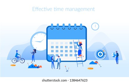 Effective time management, save time, teamwork, planning training activities,  organization, working time. Flat vector illustration.