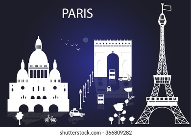 Effel Tower in Paris. Paris midnight. Most popular travel places.