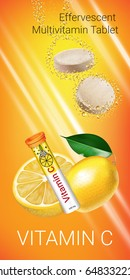 Effervescent Multivitamin tablets ads. Vector Illustration with  Vitamin C container and lemon. Vertical banner.