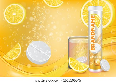 Effervescent vitamin C tablets advertising poster design template. Vector realistic soluble tablets plastic container, glass of water with fizzy pill, lemon slices, sparkling bubbles and copy space.