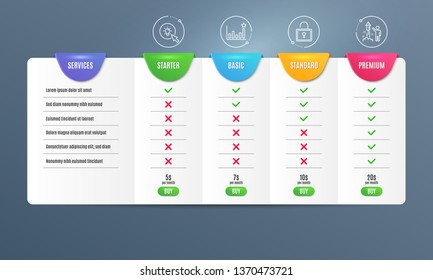 Efficacy, Energy and Lock icons simple set. Comparison table. Fireworks sign. Business chart, Turn on the light, Private locker. Party pyrotechnic. Business set. Pricing plan. Compare products. Vector