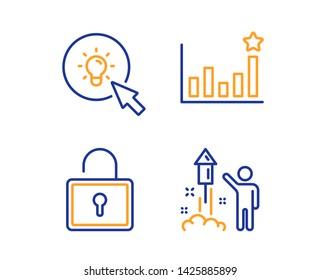 Efficacy, Energy and Lock icons simple set. Fireworks sign. Business chart, Turn on the light, Private locker. Party pyrotechnic. Business set. Linear efficacy icon. Colorful design set. Vector